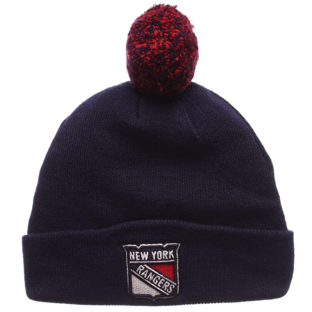 NEW YORK RANGERS Pom Cuffed Knit Hat - ROYAL BLUE