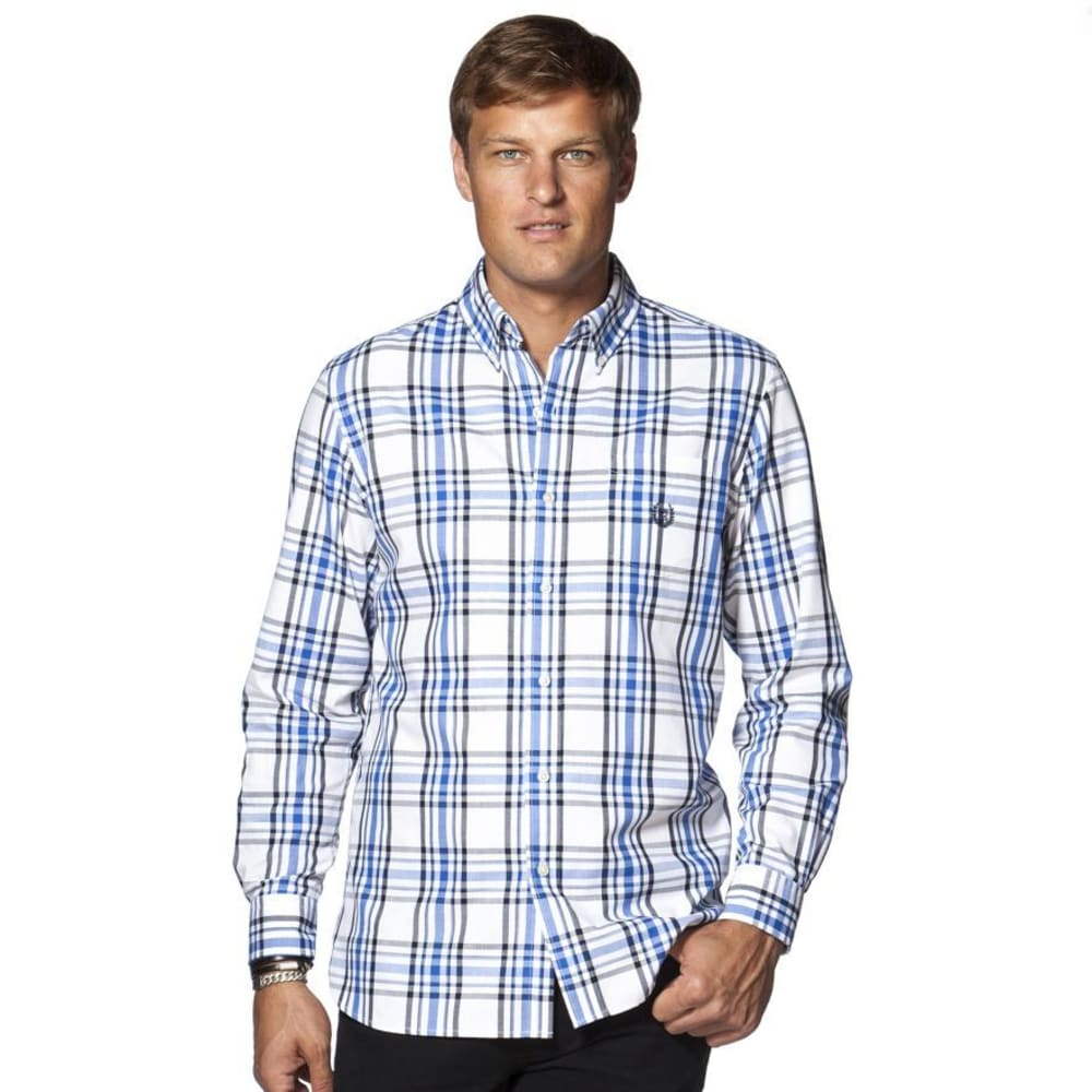 CHAPS Men's Large Plaid Button-Down Long-Sleeve Woven Shirt - 100-WHITE