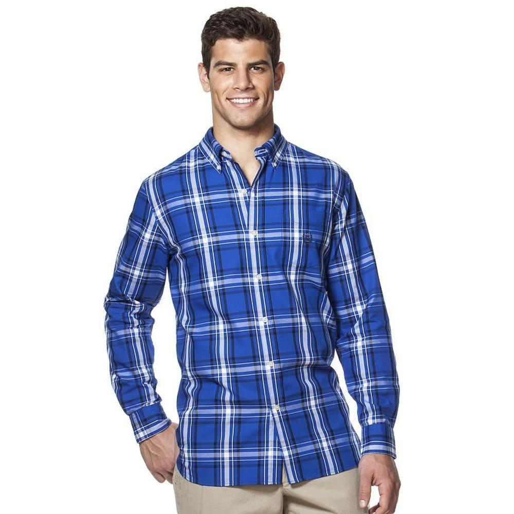CHAPS Men's Large Plaid Button-Down Long-Sleeve Woven Shirt - 400-PACIFIC ROYAL