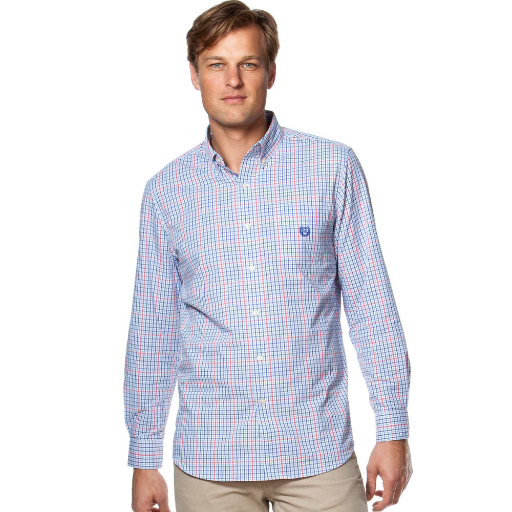CHAPS Men's Multi Windowpane Check Shirt - 400-GRAPHIC ROYAL