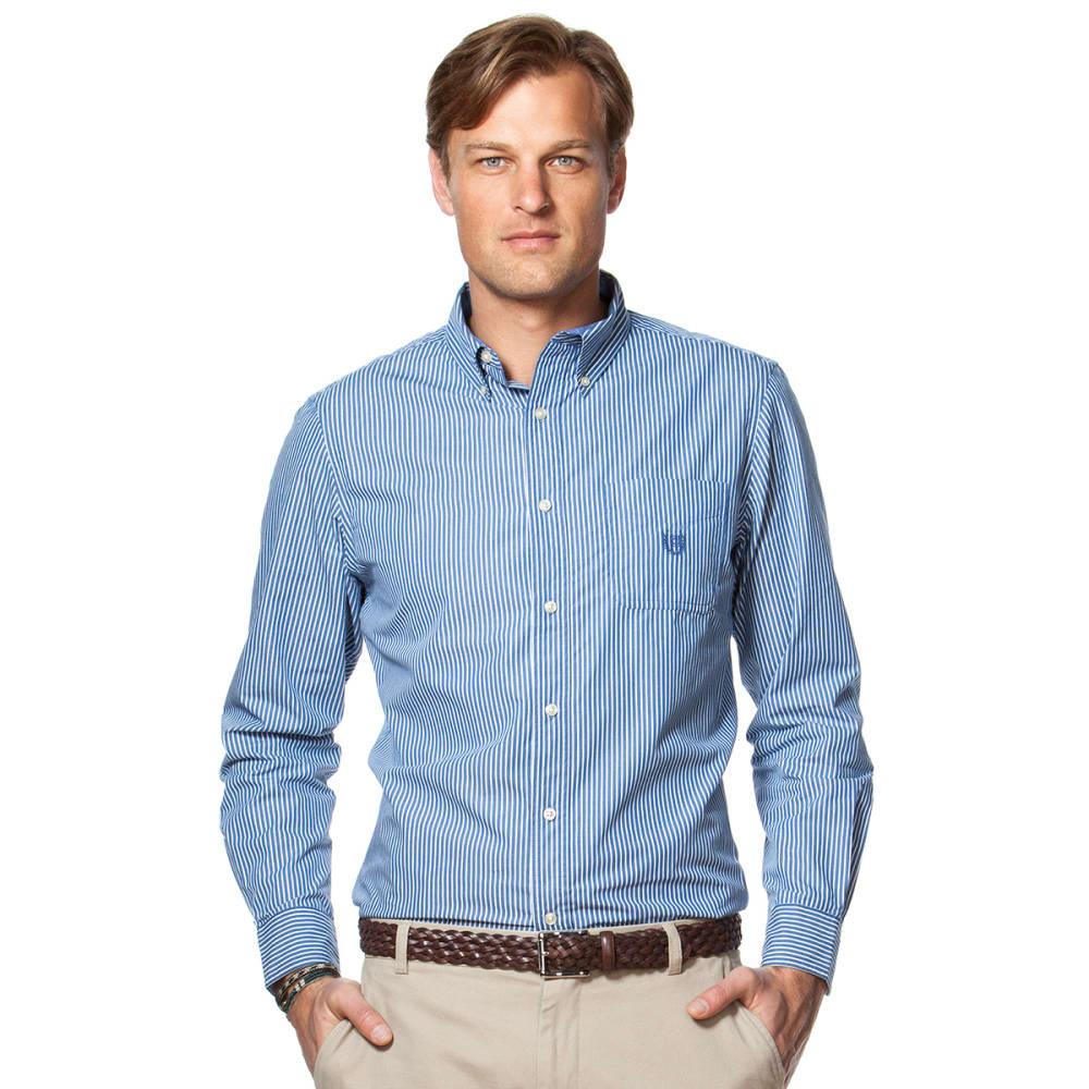 CHAPS Men's Stripe Woven Shirt - 400-CRAYON BLUE