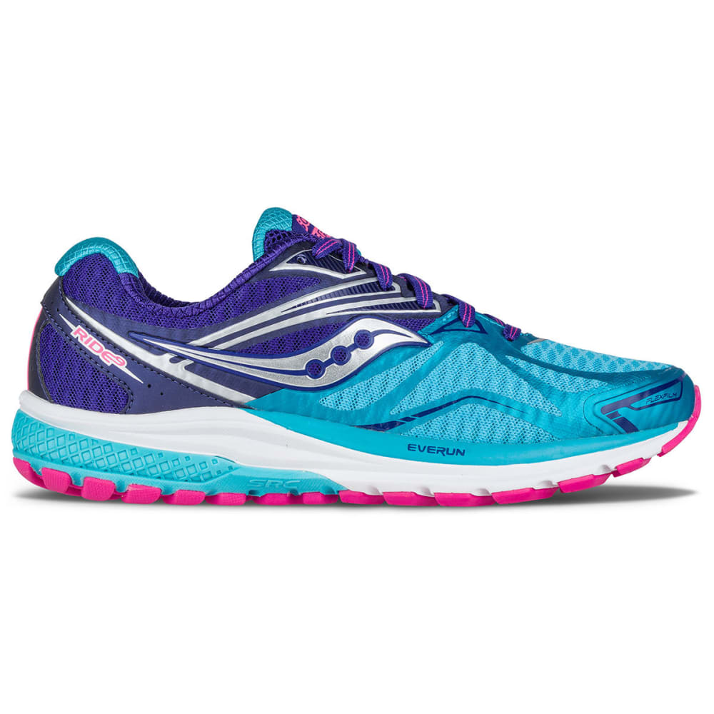 SAUCONY Women's Ride 9 Running Shoes, Navy/Blue/Pink - NAVY/BLUE/PINK