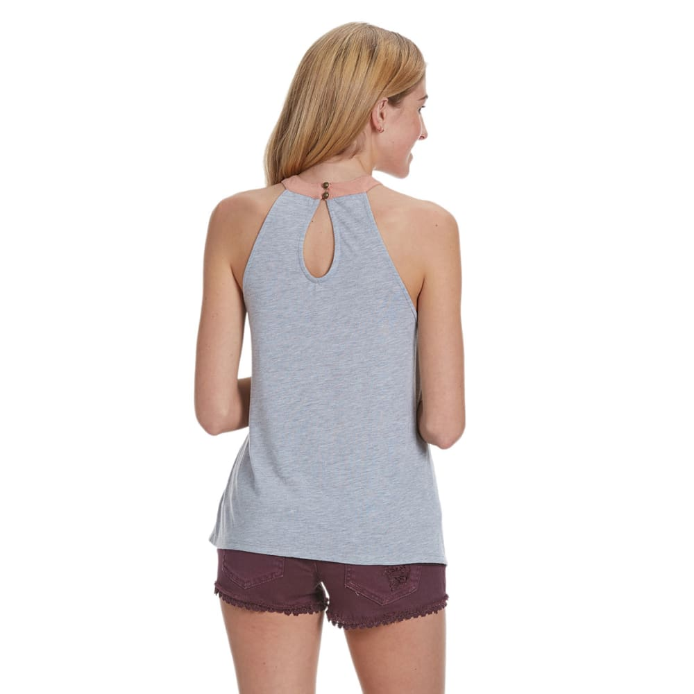 TAYLOR AND SAGE Juniors' Scallop Lace High Neck Halter - HEATHER GREY