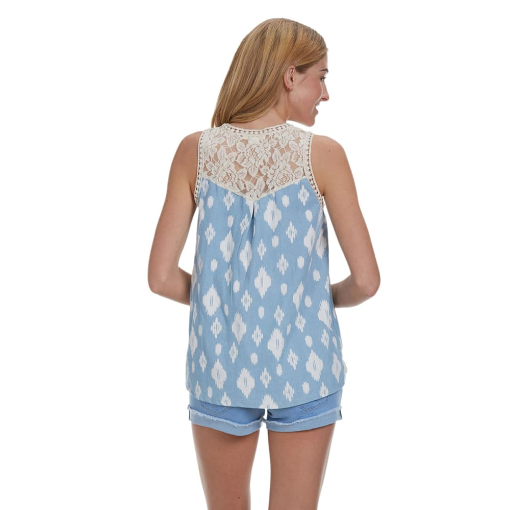 TAYLOR & SAGE Juniors' Denim Mix Print Tank with Lace Trim - NATURAL/DENIM