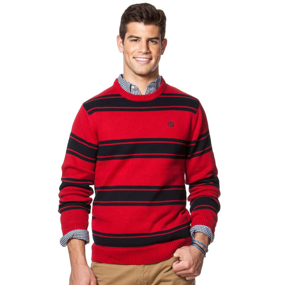 CHAPS Men's Striped Combed Cotton Crew Sweater - 600-CHAPS RED
