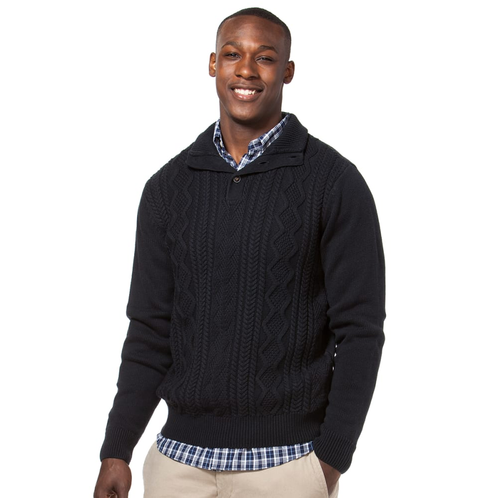 CHAPS Men's Solid Fisherman Buttoned Mockneck Sweater - 400-NAVY