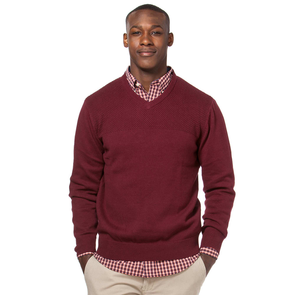 CHAPS Men's Solid Pique Stitch V-Neck Sweater - 501-BURGUNDY WINE