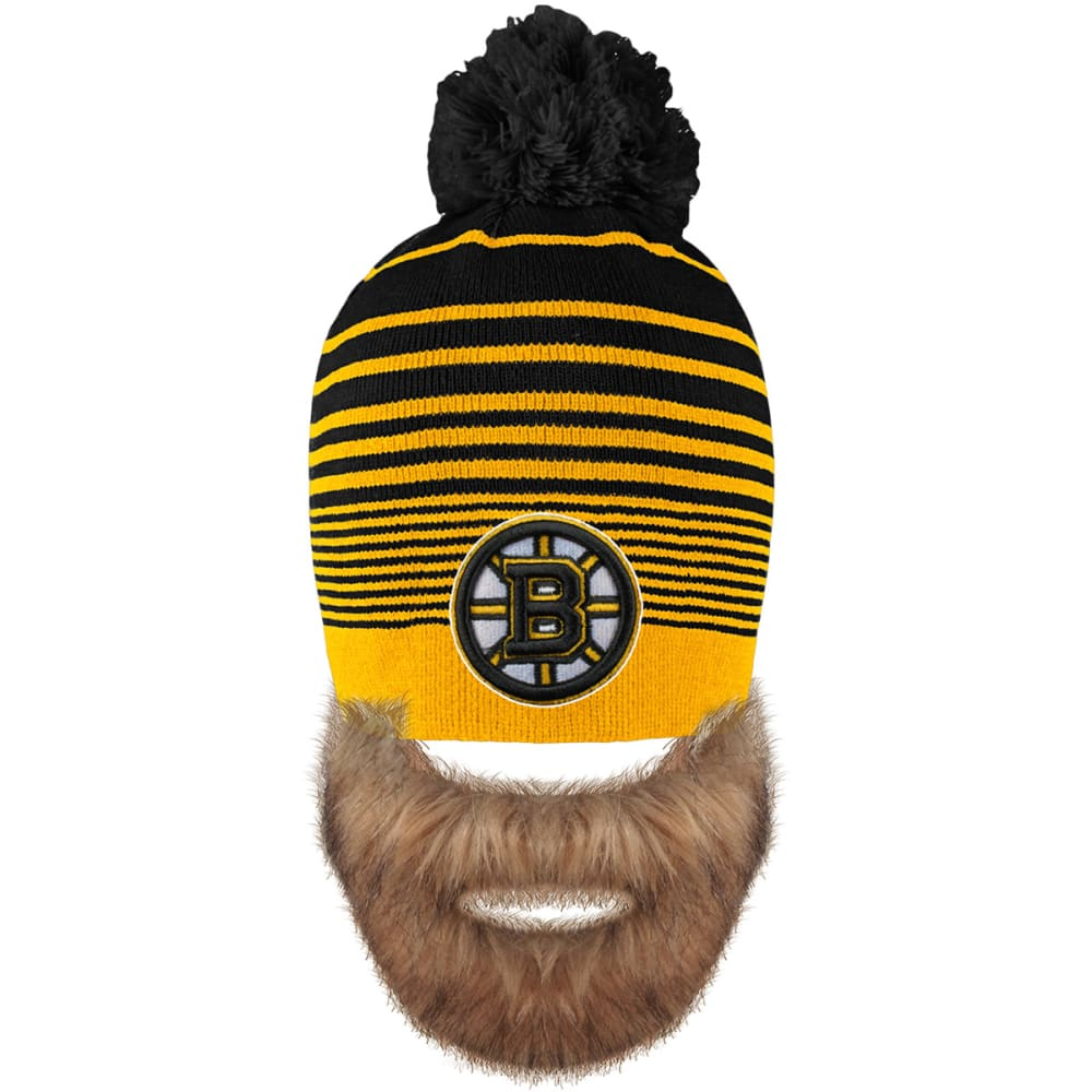 BOSTON BRUINS Bertram Knit Hat With Removable Beard - BLACK/YELLOW