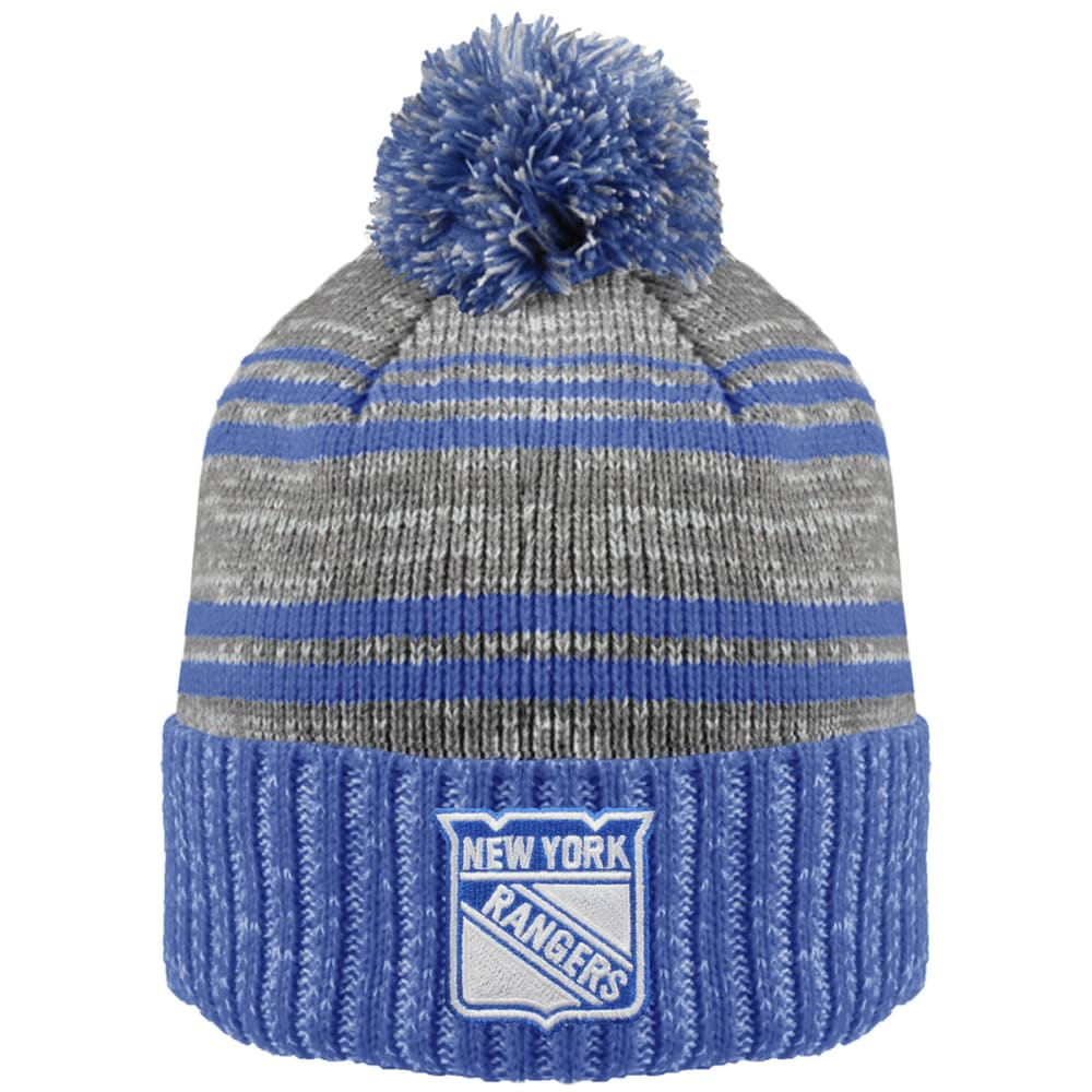 NEW YORK RANGERS Merlin Cuffed Pom Hat - ROYAL BLUE/GREY