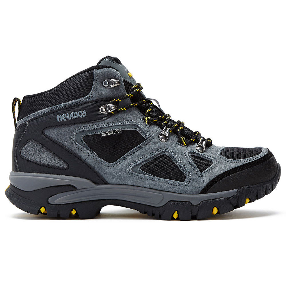 NEVADOS Men's Spire Mid WP Hiking Boots - GREY/BLACK/YELLOW