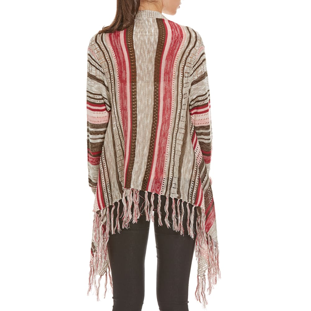 BY DESIGN Women's Striped Fringe Open Cardigan - CORAL COMBO