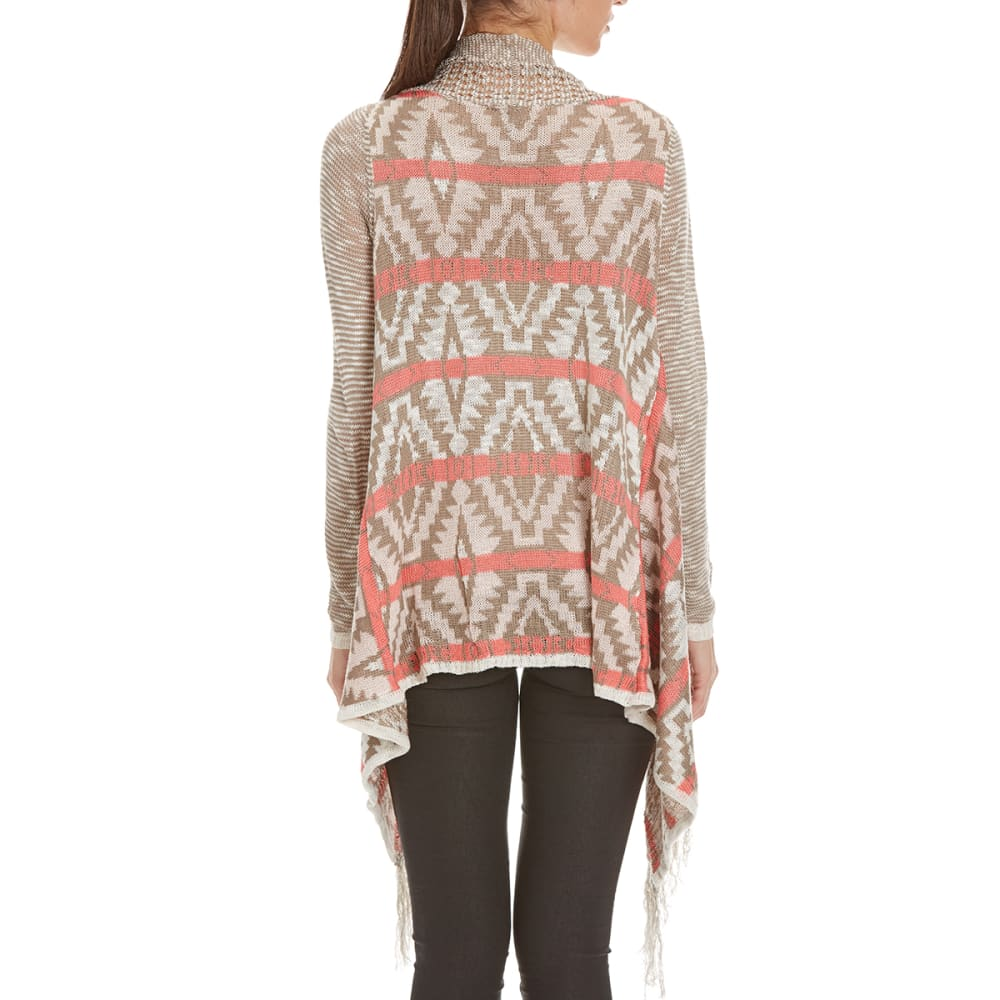 BY DESIGN Women's Aztec Fringe Open Cardigan - CORAL/FUNGI COMBO