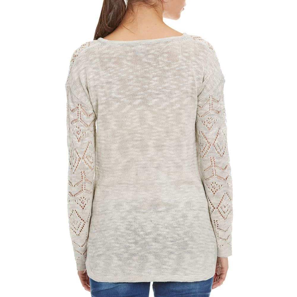 BY DESIGN Women's Pointelle Crochet Pullover - GREY/WHITE