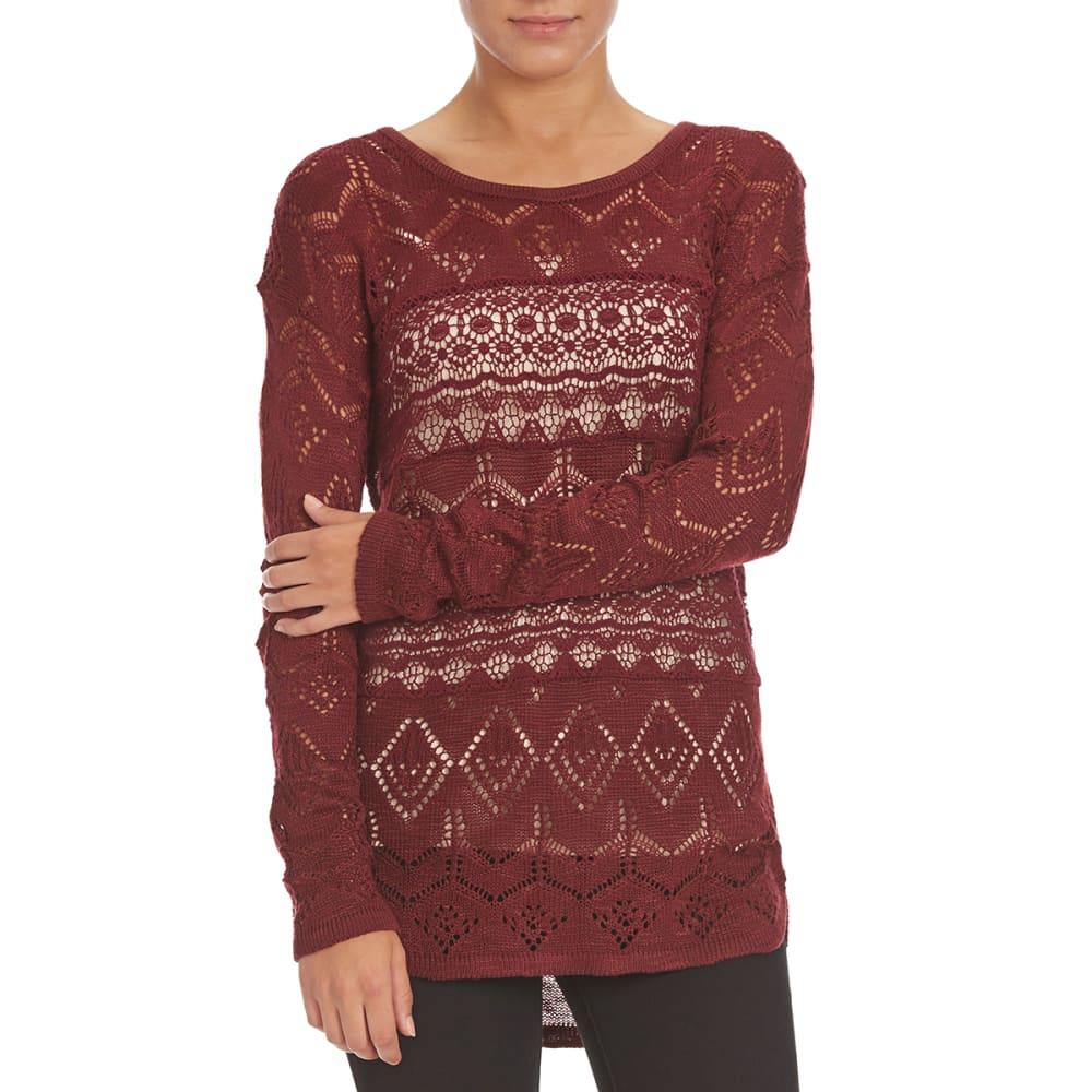 BY DESIGN Women's Pointelle Crochet Pullover - ZINFANDEL