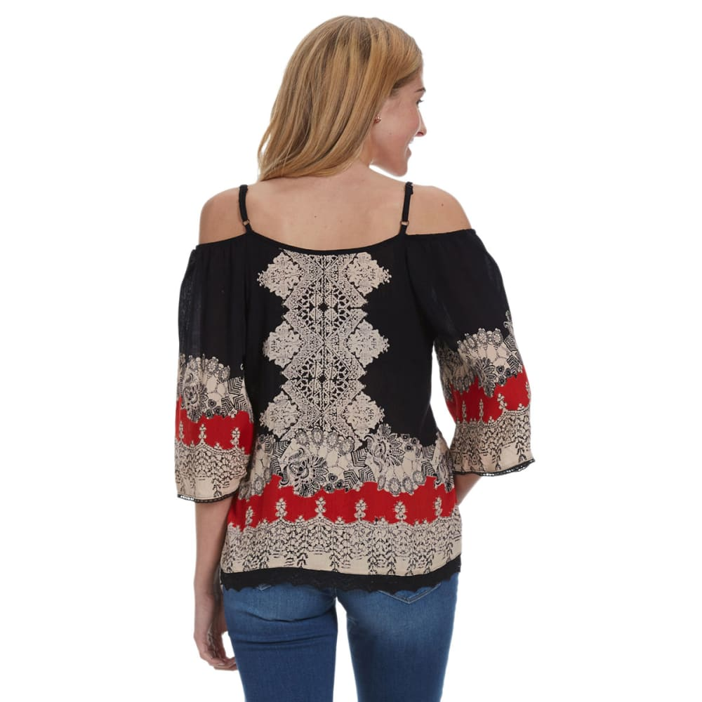 ANGIE Juniors' Cold Shoulder Peasant Top - -A426 RED/BLK PRINT