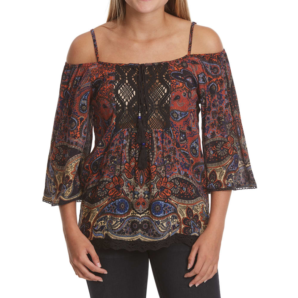ANGIE Juniors' Cold Shoulder Peasant Top - -W549 PAISLEY MULTI