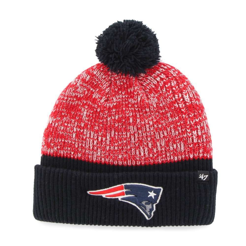 NEW ENGLAND PATRIOTS Backdrop Cuffed Pom Knit Hat - NAVY/RED