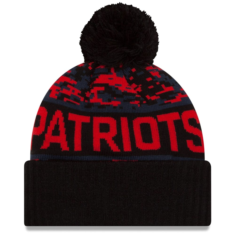 NEW ENGLAND PATRIOTS Winter Freeze Cuffed Pom Beanie - BLACK/NAVY