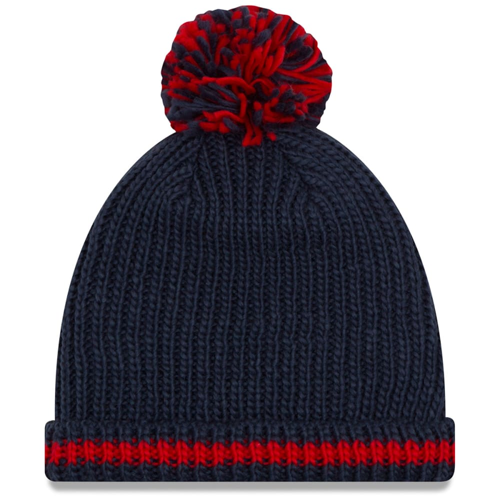 NEW ENGLAND PATRIOTS Women's Sequin Frost Cuffed Pom Beanie - NAVY
