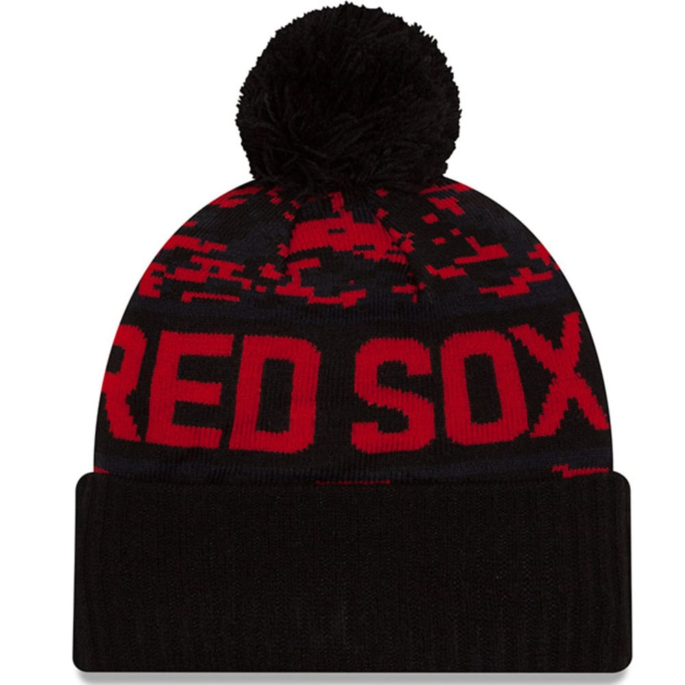 BOSTON RED SOX Winter Freeze Cuffed Pom Beanie - BLACK/RED
