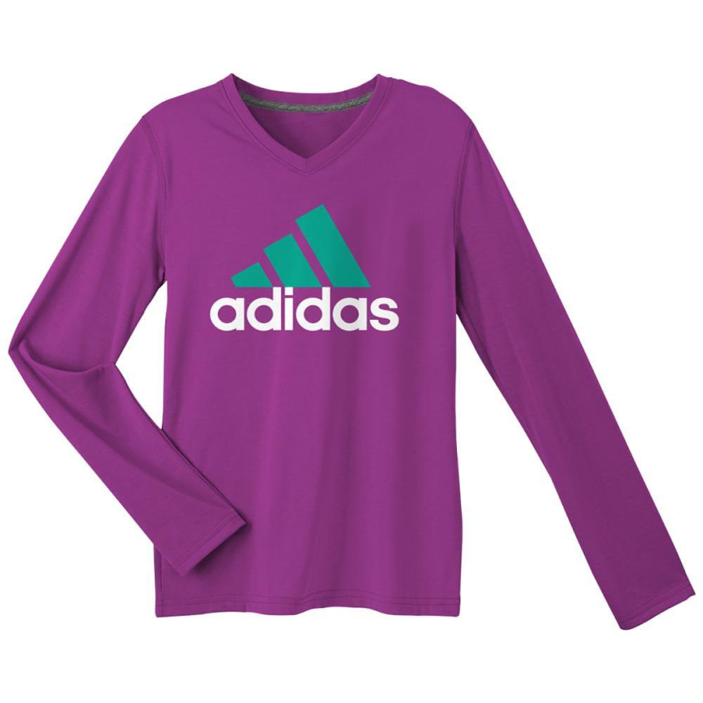 ADIDAS Girls' Logo Long-Sleeve Tee - SHOCK PRPL/MINT-AUT