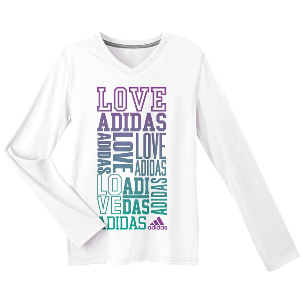 ADIDAS Girls' Love Stack Long-Sleeve Tee - WHITE/PRPLE-AVJ