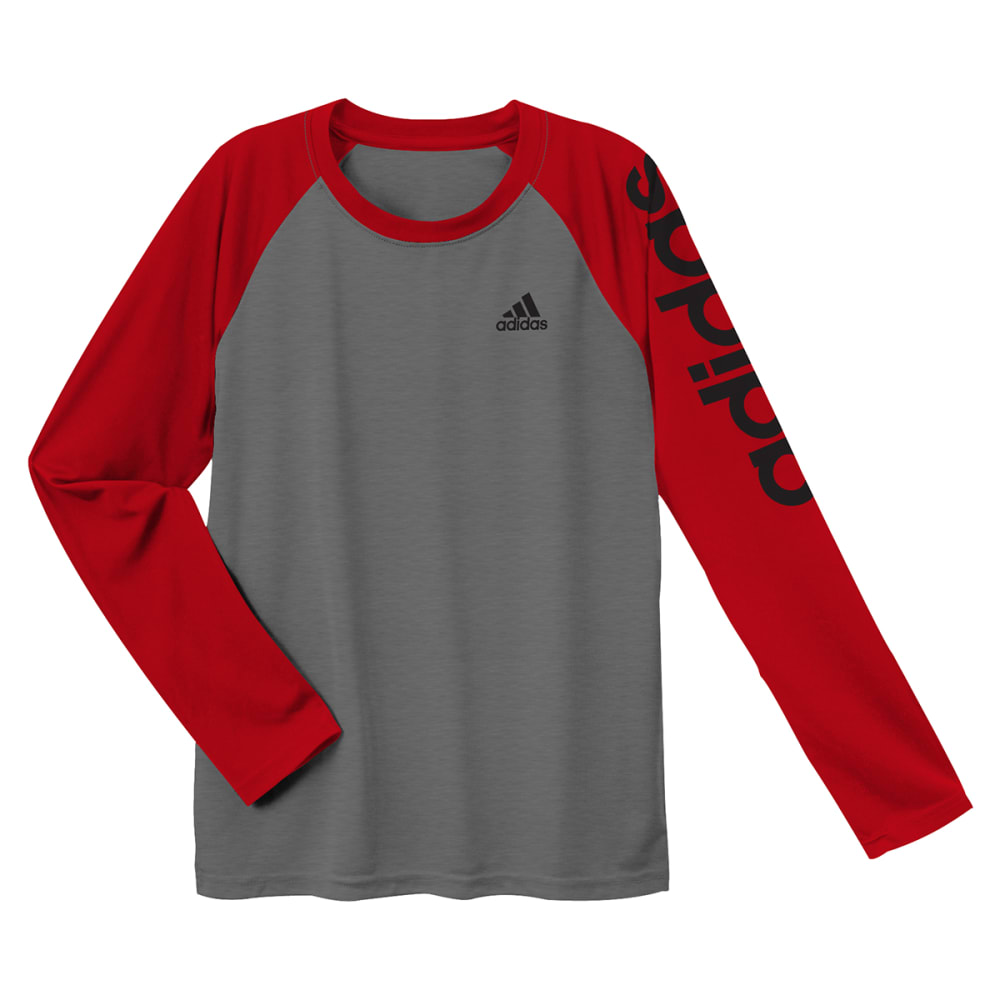 ADIDAS Boys' Climalite Long-Sleeve Performance Tee - DGH/SCARLET-AG9