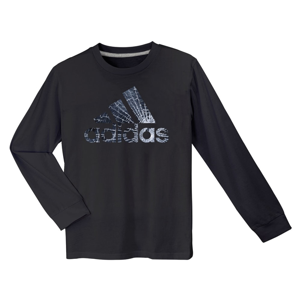 ADIDAS Boys' Broken Glass Long-Sleeve Logo Tee - BLACK-A01