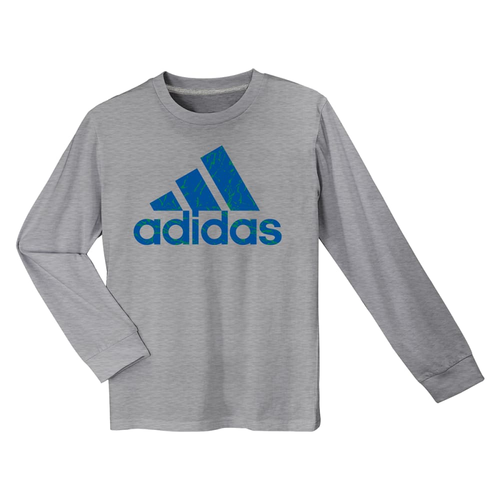 ADIDAS Boys' Crackle Long-Sleeve Logo Tee - MGH/RYL-ACL