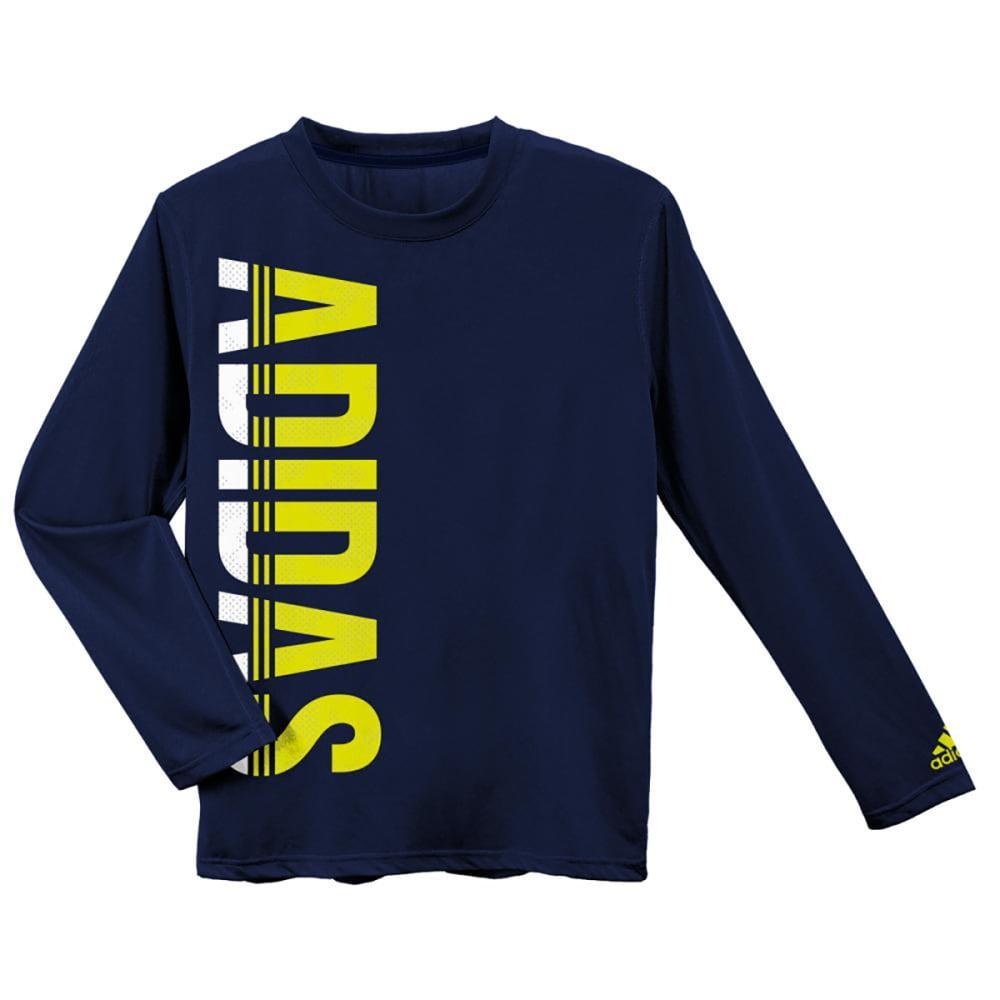 ADIDAS Boys' Vertical Lines Logo Long-Sleeve Tee - NAVY/LIME-ATB