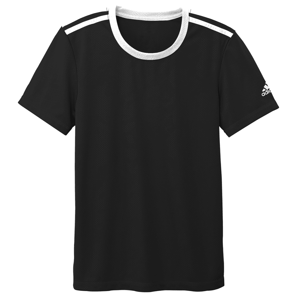 ADIDAS Boys' Breezy Embossed Tee - BLACK/WHT-A82