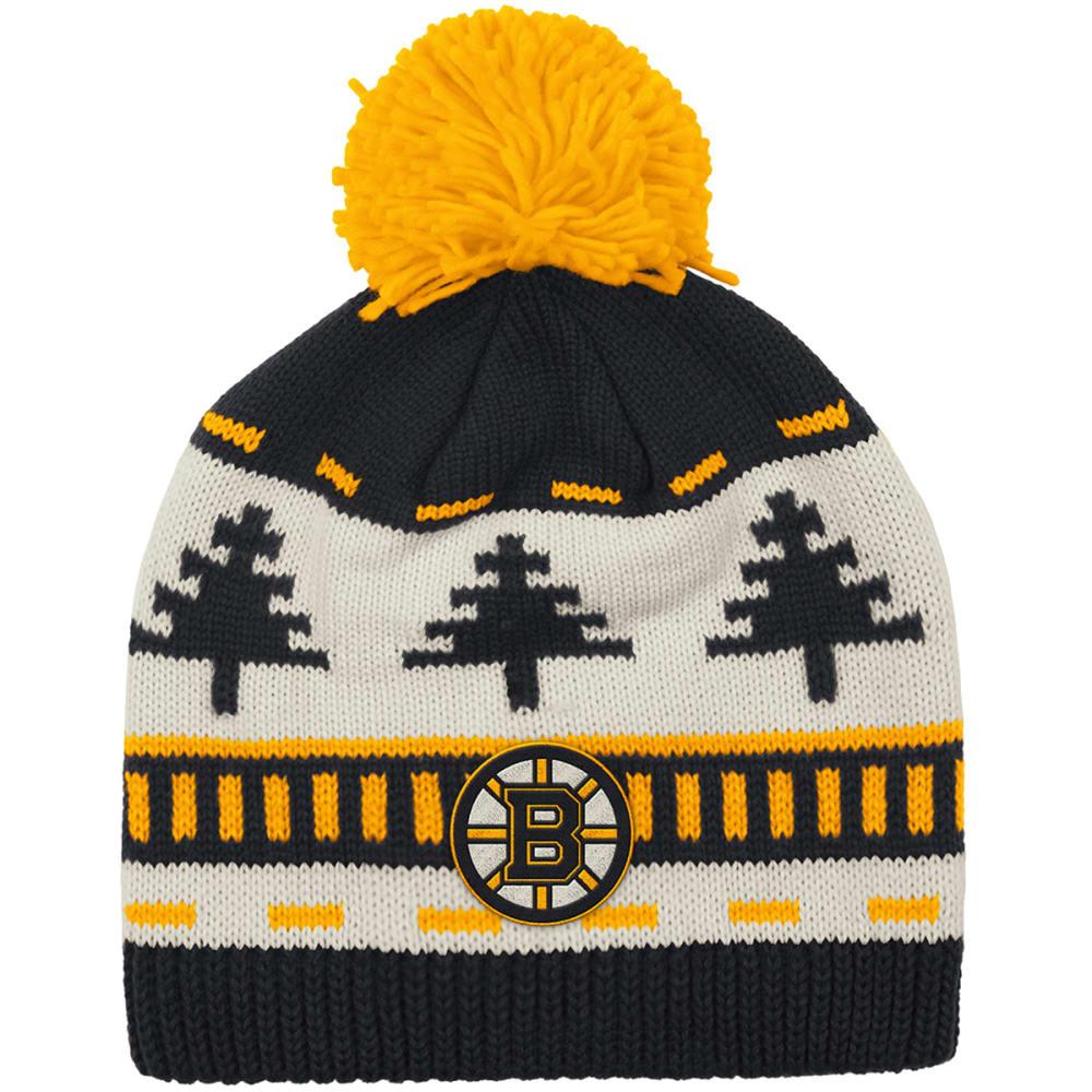 ADIDAS Boston Bruins Tree Pom-Pom Beanie - BLACK/YELLOW