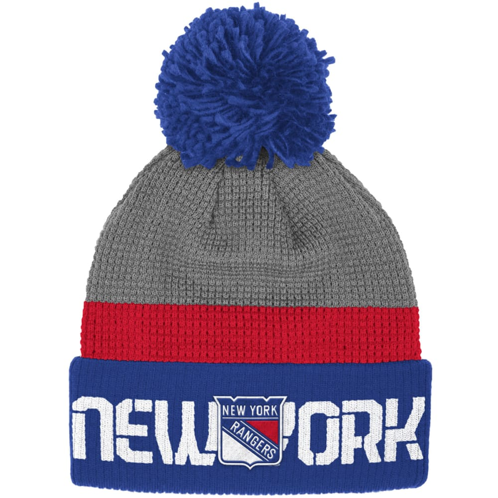 NEW YORK RANGERS Cuffed Pom-Pom Beanie - ROYAL BLUE / GREY