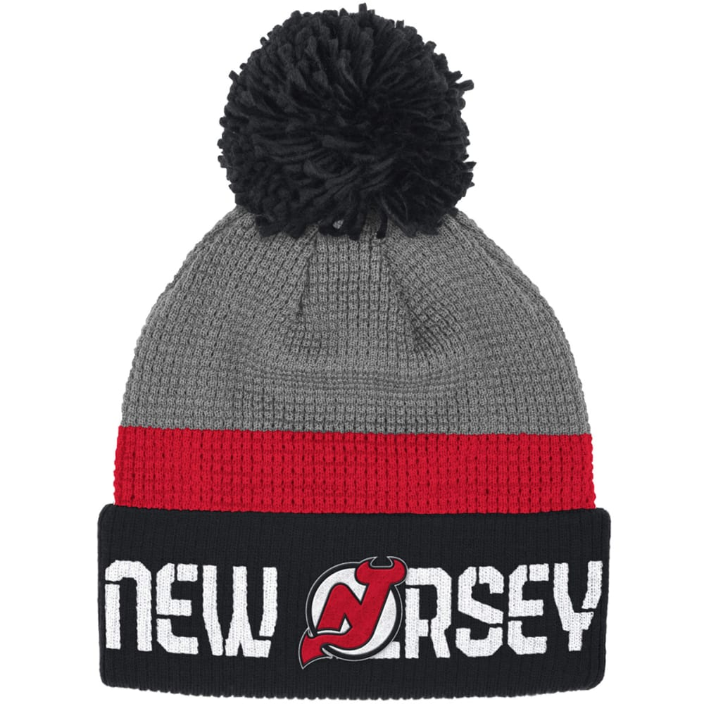 NEW JERSEY DEVILS Cuffed Pom-Pom Beanie - BLACK/GREY