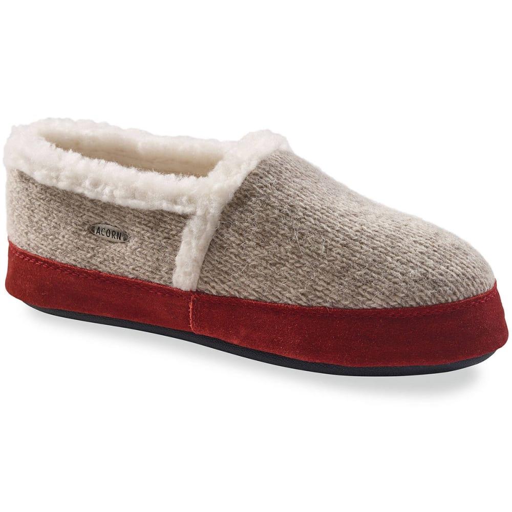 ACORN Women's Moc Slippers, Grey Ragg Wool S