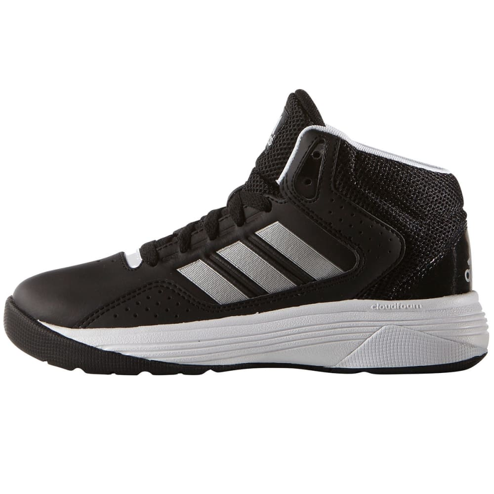 ADIDAS Boys' Cloudfoam Ilation Mid Basketball Shoes, Black/Silver/White - BLACK