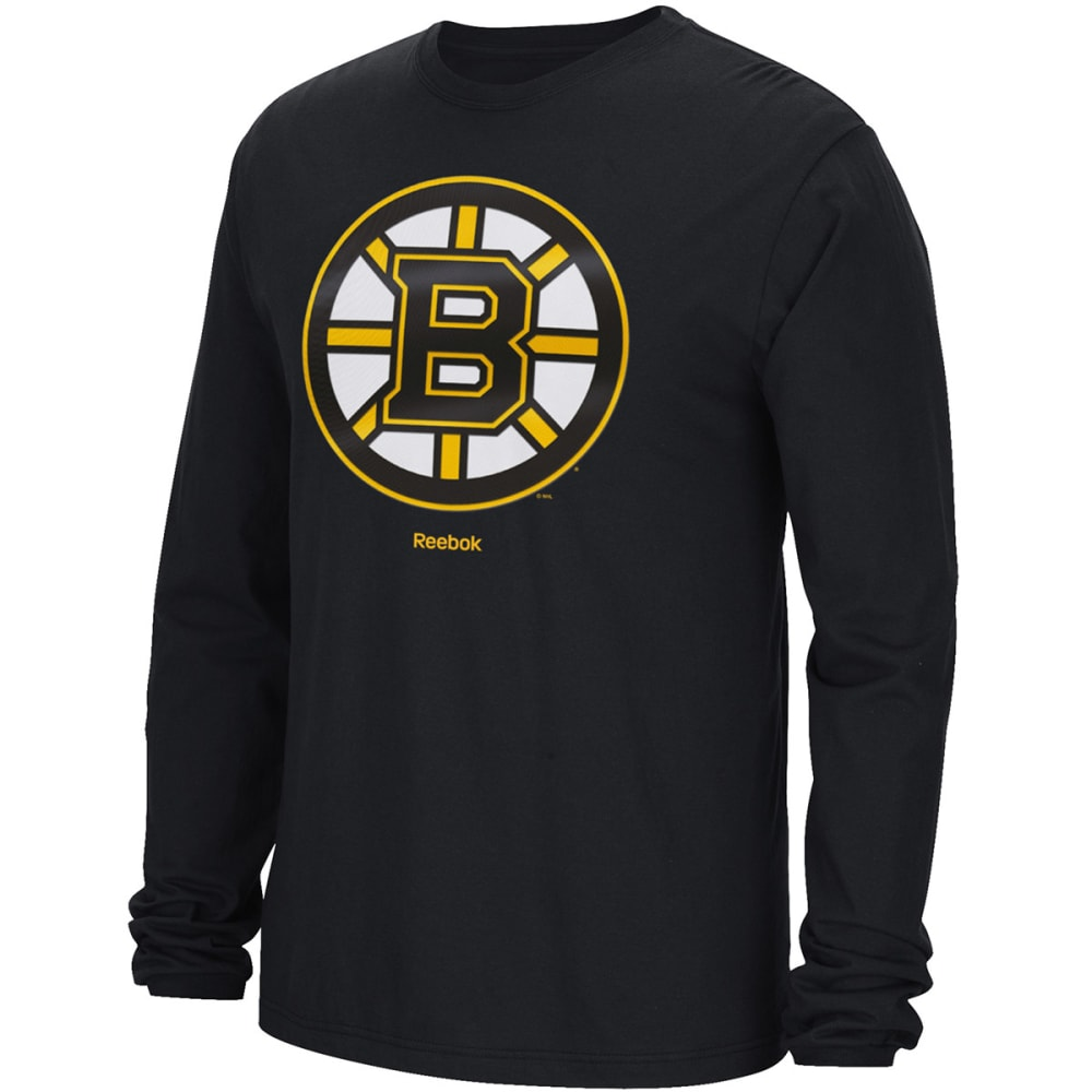REEBOK Men's Boston Bruins Emblem Long-Sleeve Tee - BLACK