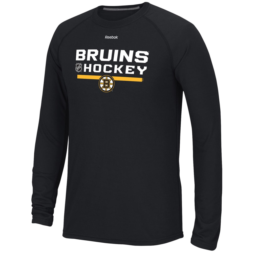 REEBOK Men's Boston Bruins Center Ice Long-Sleeve Tee - BLACK