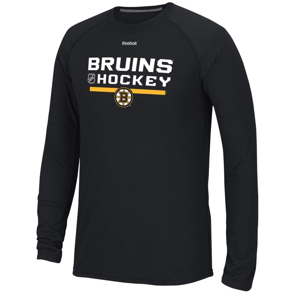 REEBOK Men's Boston Bruins Center Ice Long-Sleeve Tee - BLACK