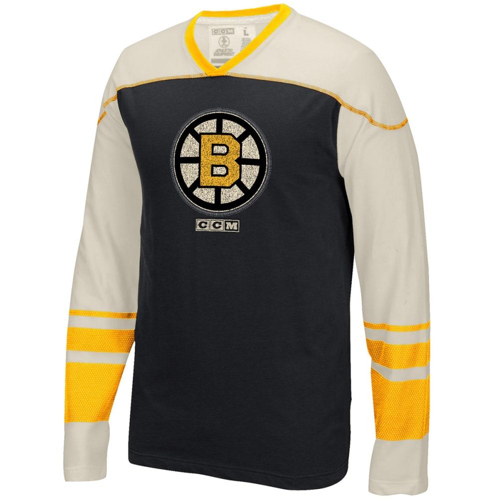 REEBOK Men's Boston Bruins CCM Long-Sleeve Tee - BLACK/CREAM
