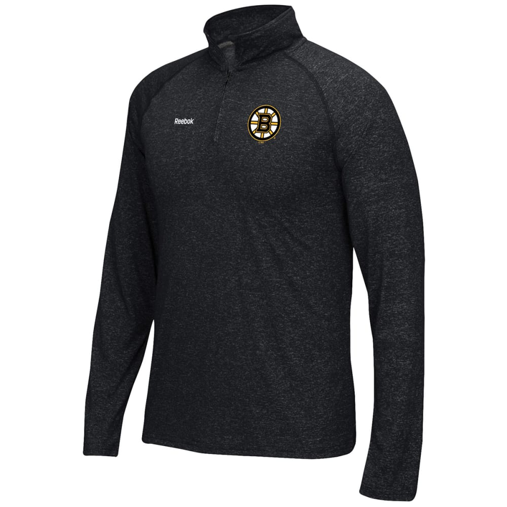 REEBOK Men's Boston Bruins Left Winger ¼-Zip Pullover - HEATHER BLACK