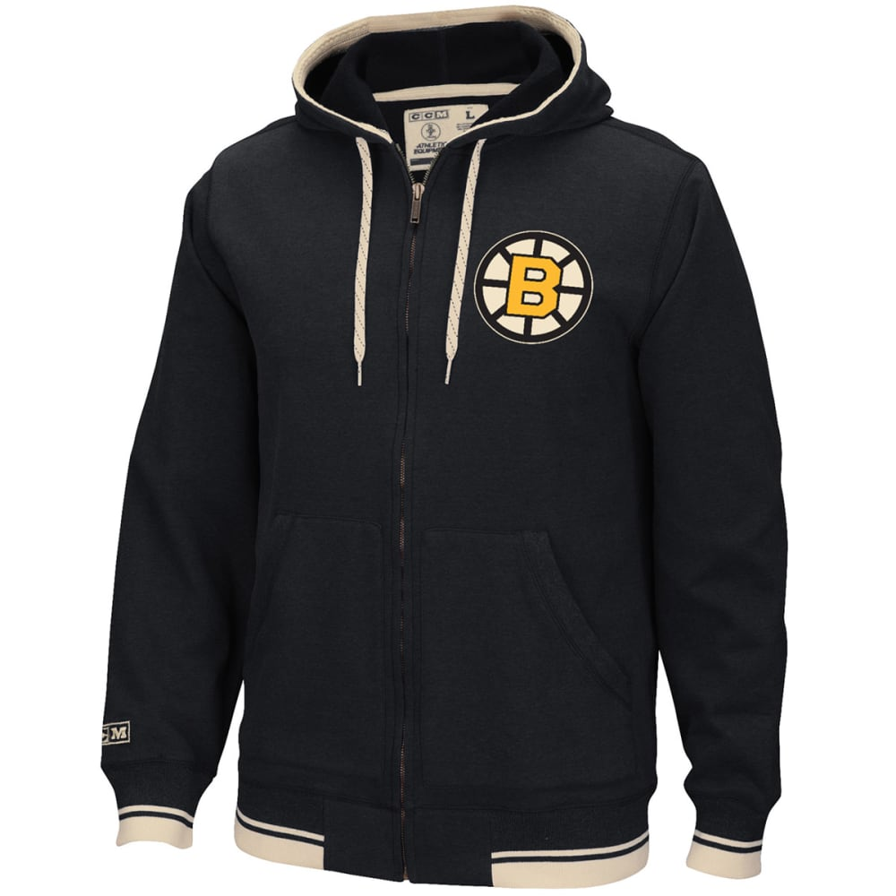 REEBOK Men's Boston Bruins CCM Fashion Fleece Hoodie - BLACK