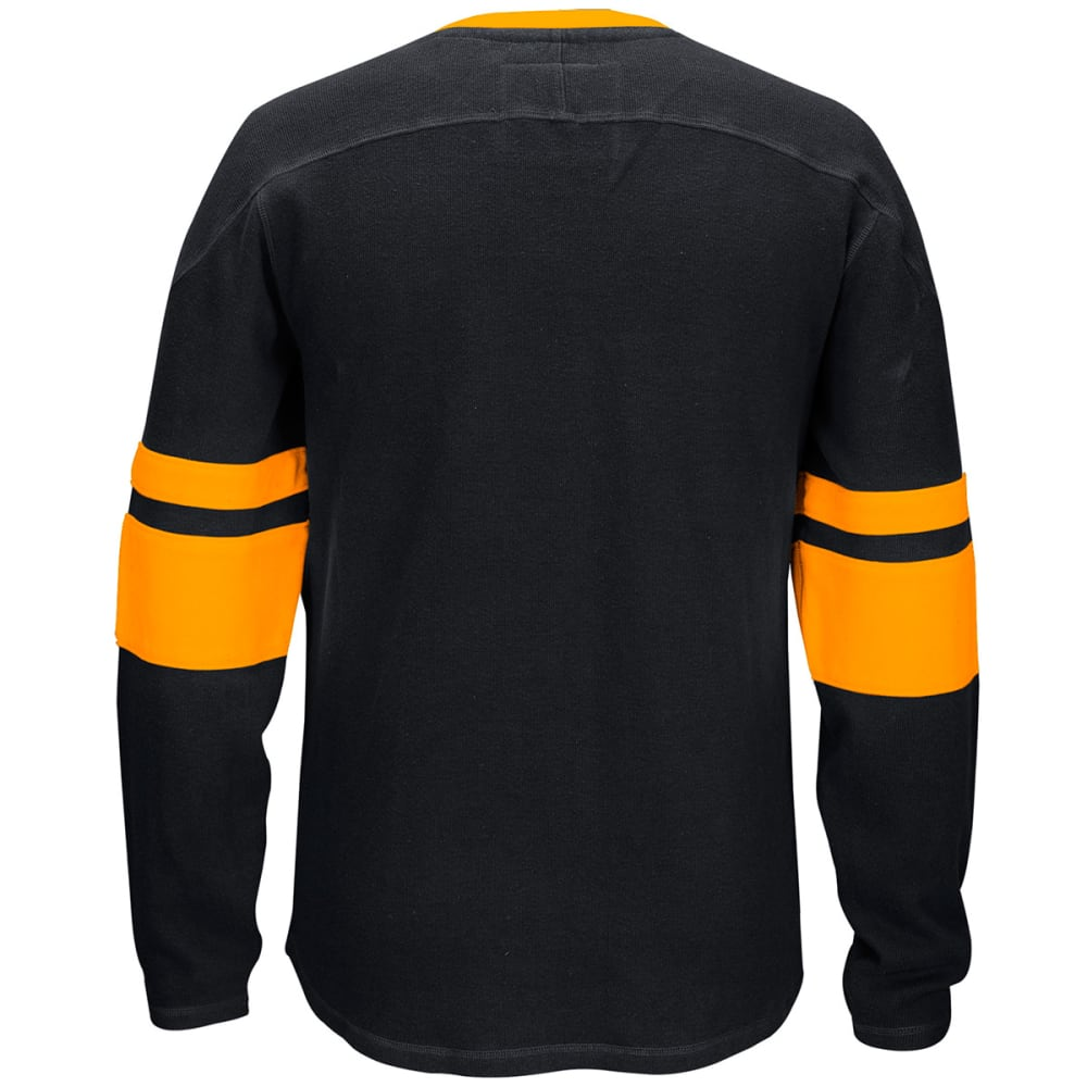 REEBOK Men's Boston Bruins CCM Lace-Up Crew Sweatshirt - BLACK/GOLD