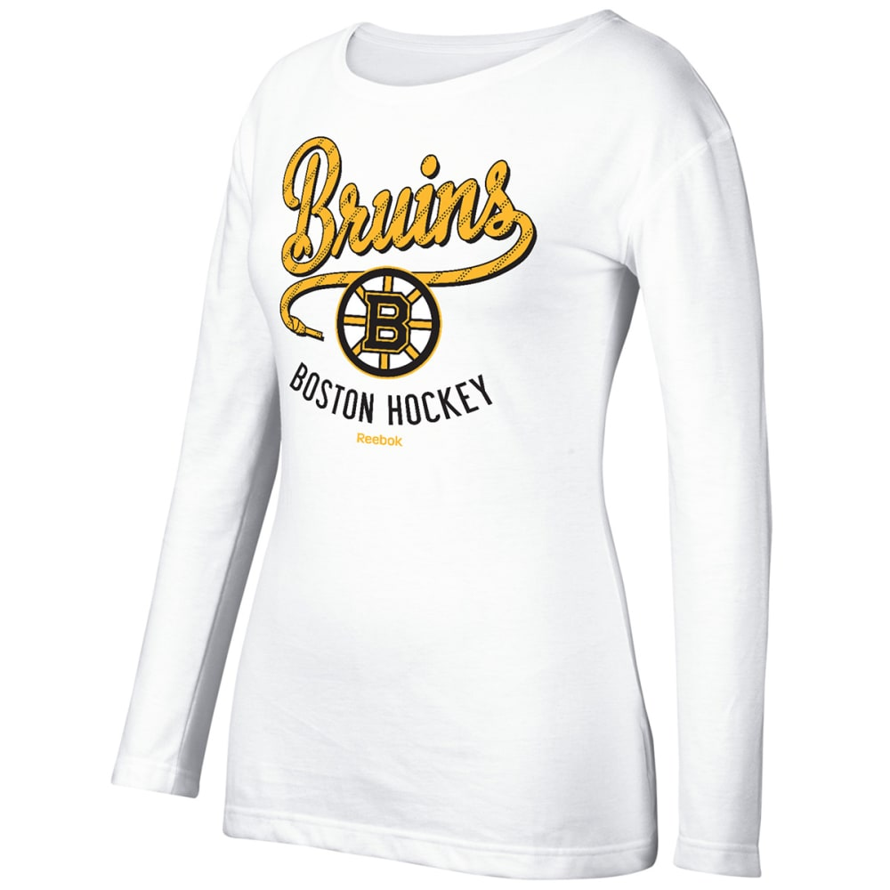 ADIDAS Women's Boston Bruins Team Skate Long-Sleeve Tee - WHITE