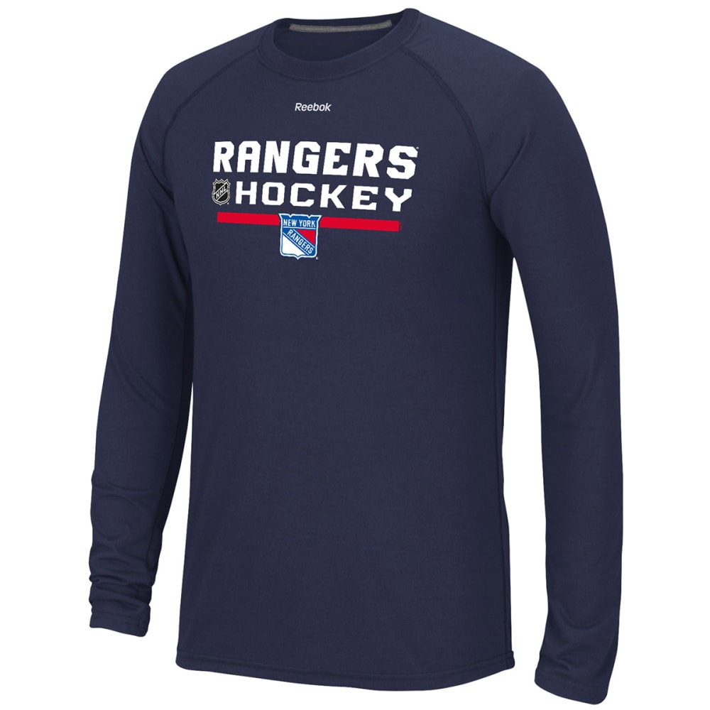 REEBOK Men's New York Rangers Center Ice Long-Sleeve Tee - ROYAL BLUE
