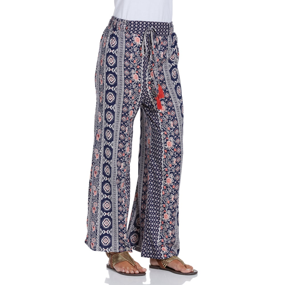 ANGIE Juniors' Printed Tassel Palazzo Pants - -MM98 NAVY VERTICAL