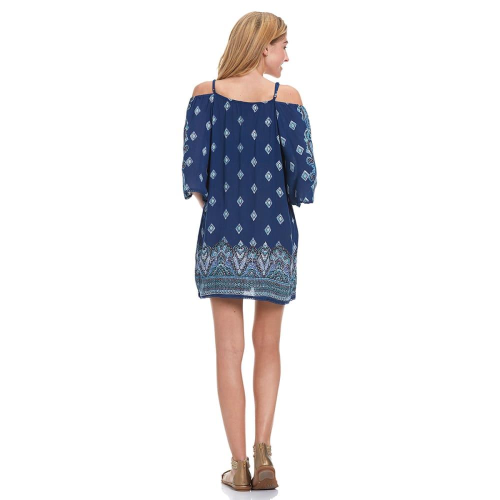 ANGIE Juniors' Printed Cold Shoulder Dress - -FL05 NVY BRDR PRNT