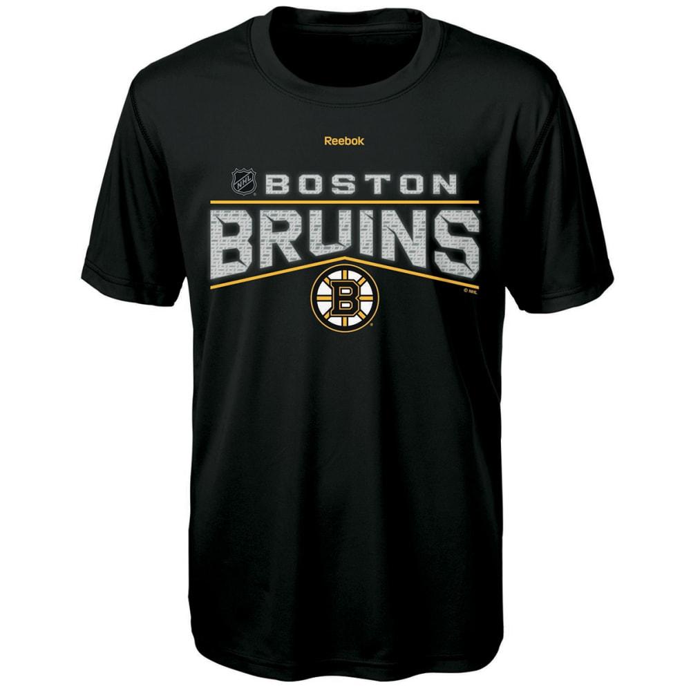 REEBOK Boys' Boston Bruins TNT Freeze Reflect Short-Sleeve Tee - BLACK