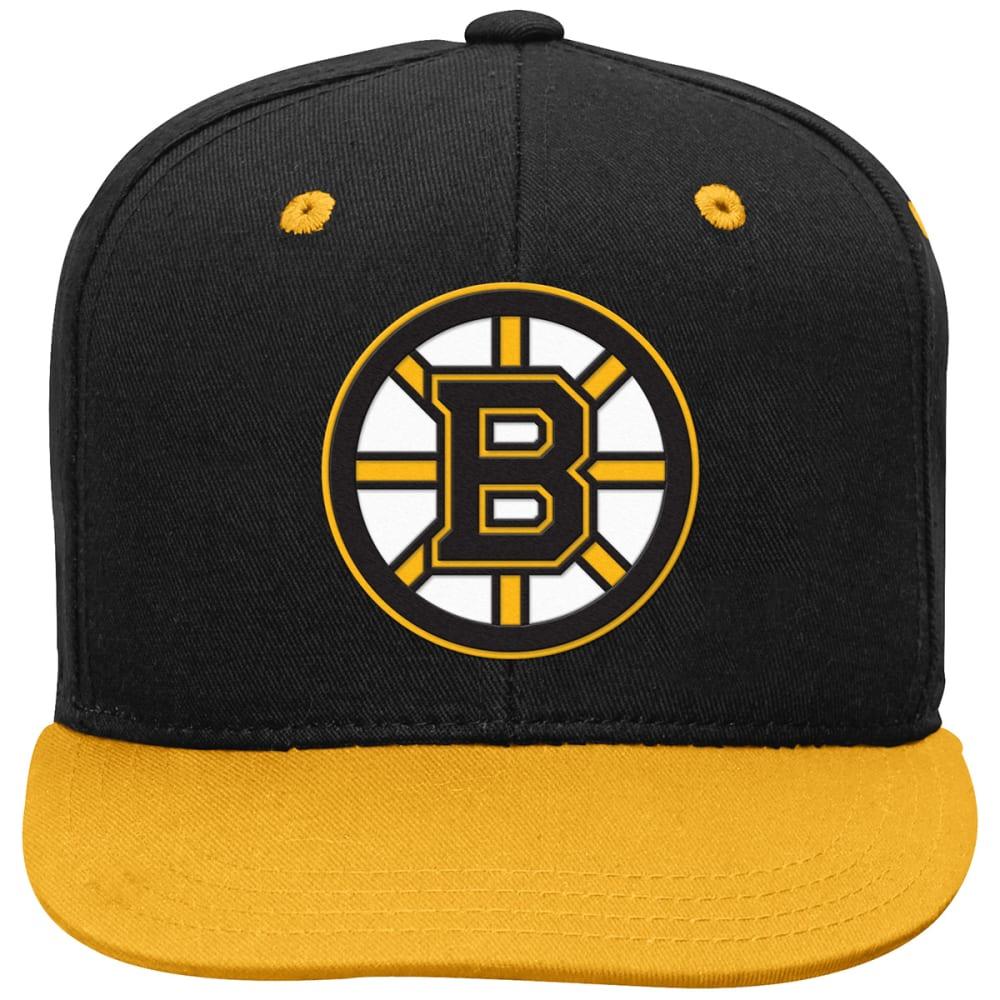 BOSTON BRUINS Boys' Two-Tone Flat-Brim Snapback Cap - BLACK
