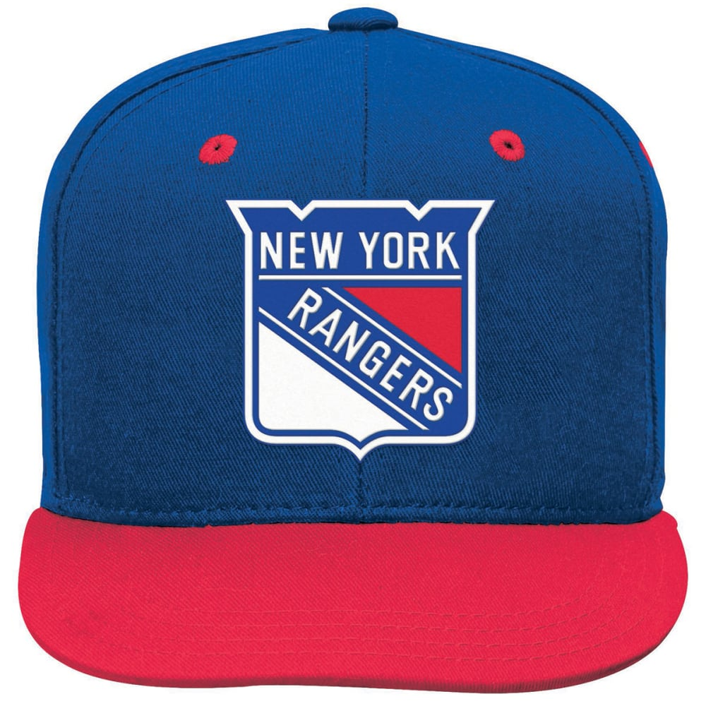 NEW YORK RANGERS Boys' Two-Tone Flat-Brim Snapback Cap - BLUE/RED